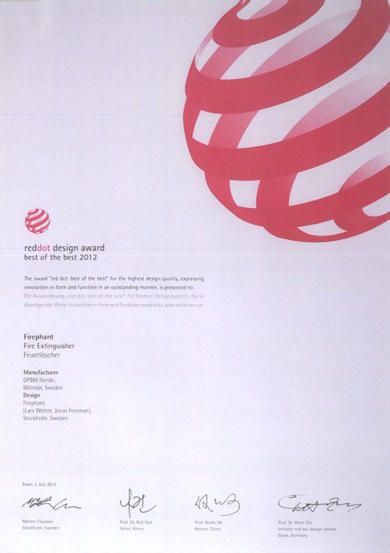 红点设计大奖证书
